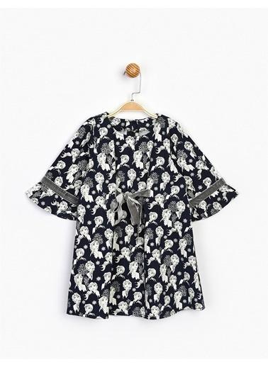 Frozen  Fiyonklu Çocuk Elbise 16267 Lacivert